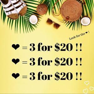 ❤️ = 3 for $20 Bundle Deal!